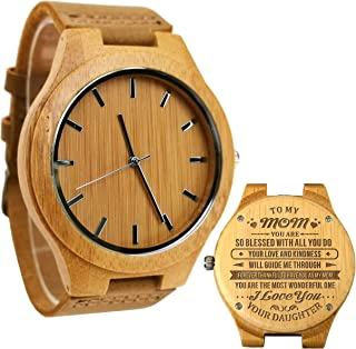 Wooden Bamboo Watch with Real Leather Strap Quartz Analog Casual Vintage Wood Wrist Watch for Women Nightlight Watch