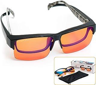 ElementsActive Fitover Anti-Blue Blocking Computer Glasses | Fits Over Prescription Eyeglasses | Amber Orange to Block Blue Light | Better Night Sleep & Reduce Eyestrain Migraine Headaches Insomnia