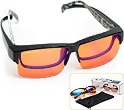 ElementsActive Fitover Anti-Blue Blocking Computer Glasses | Fits Over Prescription Eyeglasses | Amber Orange to Block Blu...