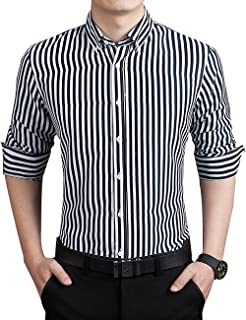 ERZTIAY Men's Casual Business Vertical Striped Button Down Long Sleeve Dress Shirts