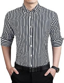 Men's Casual Business Vertical Striped Button Down Long Sleeve Dress Shirts