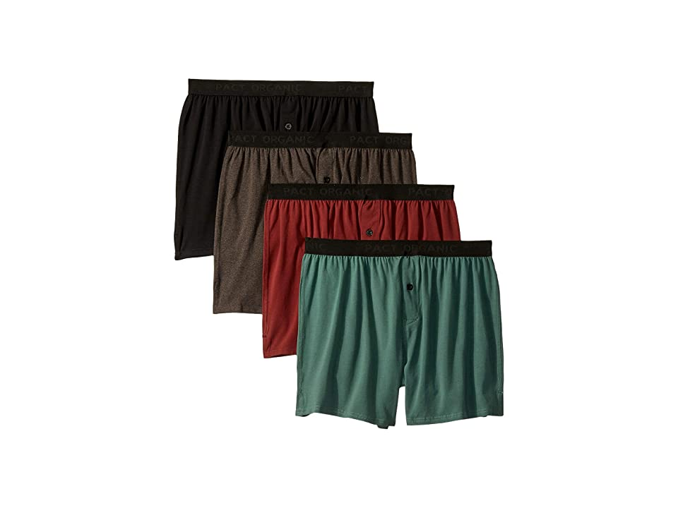 PACT Organic Cotton Knit Boxers 4-Pack (Charcoal Heather/Pine/Black/Redwood) Men