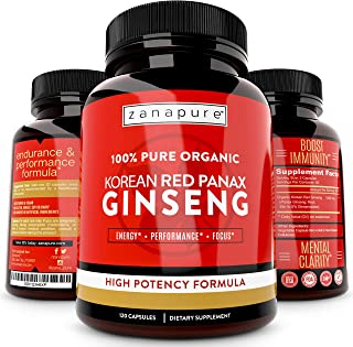 Zanapure - Organic Korean Red Ginseng - Panax Ginseng - Improved Energy - Increased Stamina & Cognition - 120 Capsules - f...