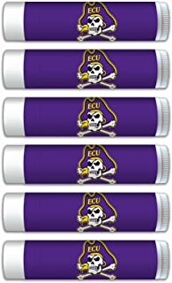 NCAA East Carolina Pirates Premium Lip Balm 6-Pack Featuring SPF 15, Beeswax, Coconut Oil, Aloe Vera, Vitamin E. NCAA Gifts for Men and Women, Mother's Day, Fathers Day, Easter, Stocking Stuffers