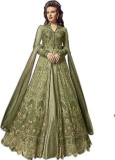 Deepjyoticreation DJ Creation Womens Latest Green Color Embroidered Long Salwar Suit (DJ_5905-B-Green)_Semi-Stitched Dress Material