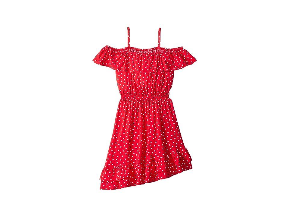 Bardot Junior Spot Shirred Dress (Big Kids) (Red Spot) Girl
