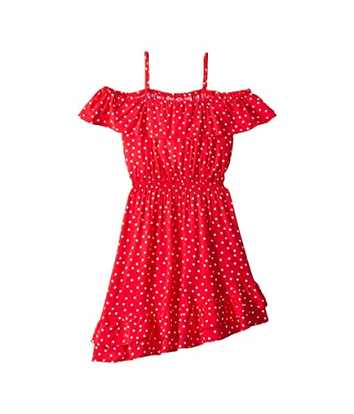 Bardot Junior Spot Shirred Dress (Big Kids) (Red Spot) Girl