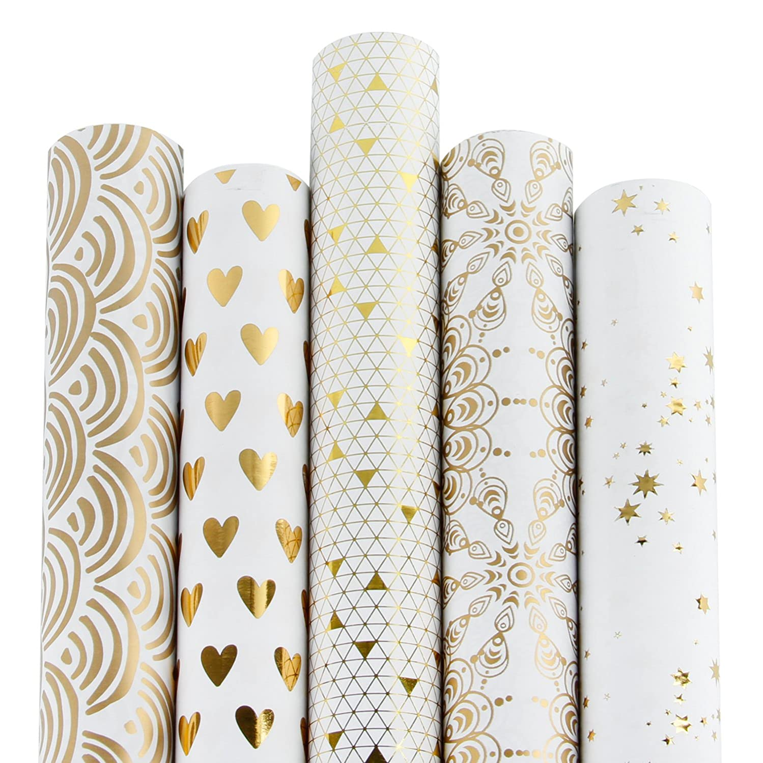 RUSPEPA Gift Wrapping Paper Roll-White and Gold Foil Pattern for Wedding,Birthdays, Valentines, Christmas-5 Roll-30Inch X 10Feet Per Roll