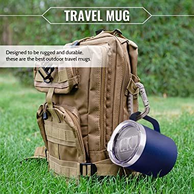 350 ml Stainless Steel Travel Mug with Handle | Double Wall Vacuum Insulated Cup | Two Bonus Lids - Slide/Open Spout | Leakpr
