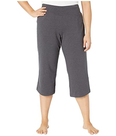 Jockey Active Plus Size Slim Capri Flare (Charcoal) Women