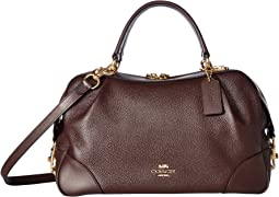 코치 크로스백 COACH Polished Pebble Leather Lane Satchel,Oxblood/Gold