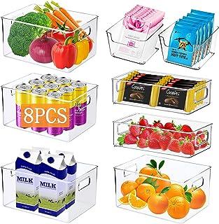 JOYBOY Boîte de Rangement Frigo,Ensemble de 8 Pièces Bac Rangement Frigo,Boîtes de Rangement pour Réfrigérateur,Cuisine,Ga...