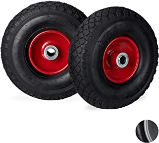 Relaxdays 3.00-4 Sack Truck Wheel Set of 2 Pneumatic Tyres up to 200 kg 260 x 85 mm Replacement Wheel with Steel Rim Black/Red