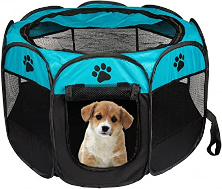 S /& L S, Azul Dog Puppy Playpen con 8 Paneles Kennel Mesh Shade Cover Tela Impermeable Interior//Exterior Pet Tienda Valla para Perros y Gatos LUUFAN Portable Pet Playpen