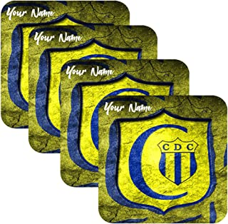 Azty Designs Set of 4 Personalized Custom Wood Coaster Glossy Liga Paraguay Futbol Soccer