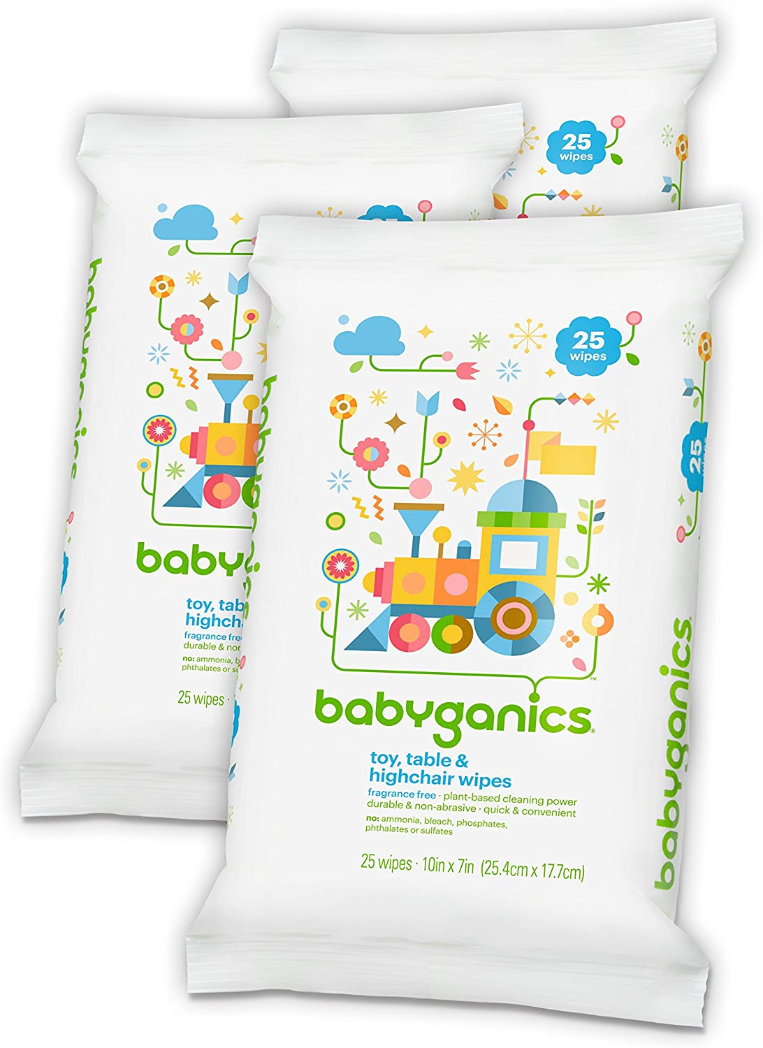 Babyganics Toy and Table Wipes, 75 count, (3 Packs of 25), Packaging May Vary