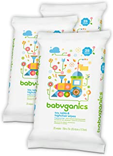 Babyganics Toy and Table Wipes, 25 ct, 3 Pack, Packaging May Vary