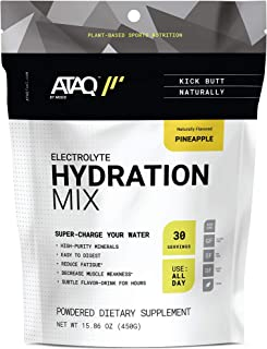 ATAQ Plant Based Electrolyte Hydration Mix, Pineapple, Hydra 4G Mineral Blend, Betaine to Aid Metabolism, No Artificial Sw...