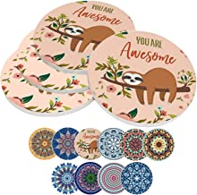 Coasters for Drinks Absorbent,Ceramic Stone Boho Coaster Set with Cork Backing,10 Colors,3.9 Inch (4-Piece, Style-C)