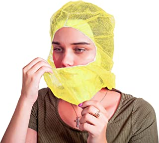100 Pack Polypropylene Hooded Caps. Yellow Non Woven Hoods with elastic closure. Disposable Bouffant Hoods. Unisex Hair Covers for food service, medical use. Breathable, Lightweight. One size.