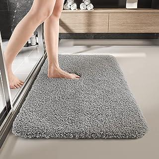 "Bath Mat Bathroom Rug Washable Non Slip Water Absorbent Soft Microfiber Plush Shaggy,20""x32"",Light Grey"