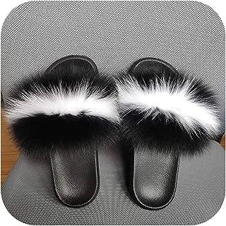 plage Summer Women Furry Slippers Furry Slides Designer Flat Fluffy Plush Shoes Female Room Slipper Cute Furry