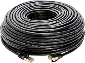 200FT S/FTP CAT 7 Gold Plated Shielded Ethernet RJ45 Copper Cable 10 Gigabit Ethernet Network Patch Cord Cat7 (200ft, Black)