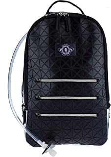 Dan-Pak Large Hydration Backpack 2l- Black Tar -Black Rubber Faux Leather Geometric Design