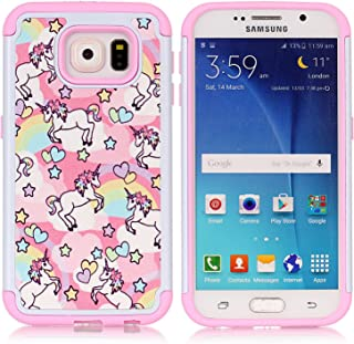Galaxy S6 Case, S6 Case, Rainbow Unicorn Patchwork Pattern Shock-Absorption Hard PC and Inner Silicone Hybrid Dual Layer Armor Defender Protective Case Cover for Samsung Galaxy S6