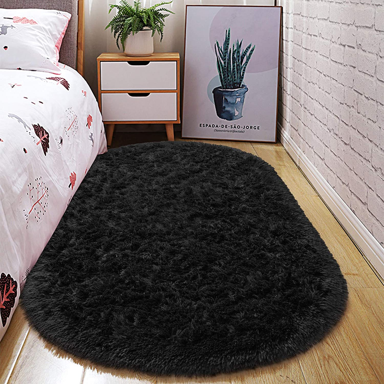 junovo Oval Fluffy Ultra Soft Area Rugs for Bedroom Plush Shaggy Carpet for Kids Room Bedside Nursery Mats, 2.6 x 5.3ft, Black