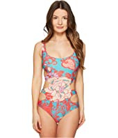 FUZZI - Side Cutout One-Piece Swimsuit in Dragonessa Print