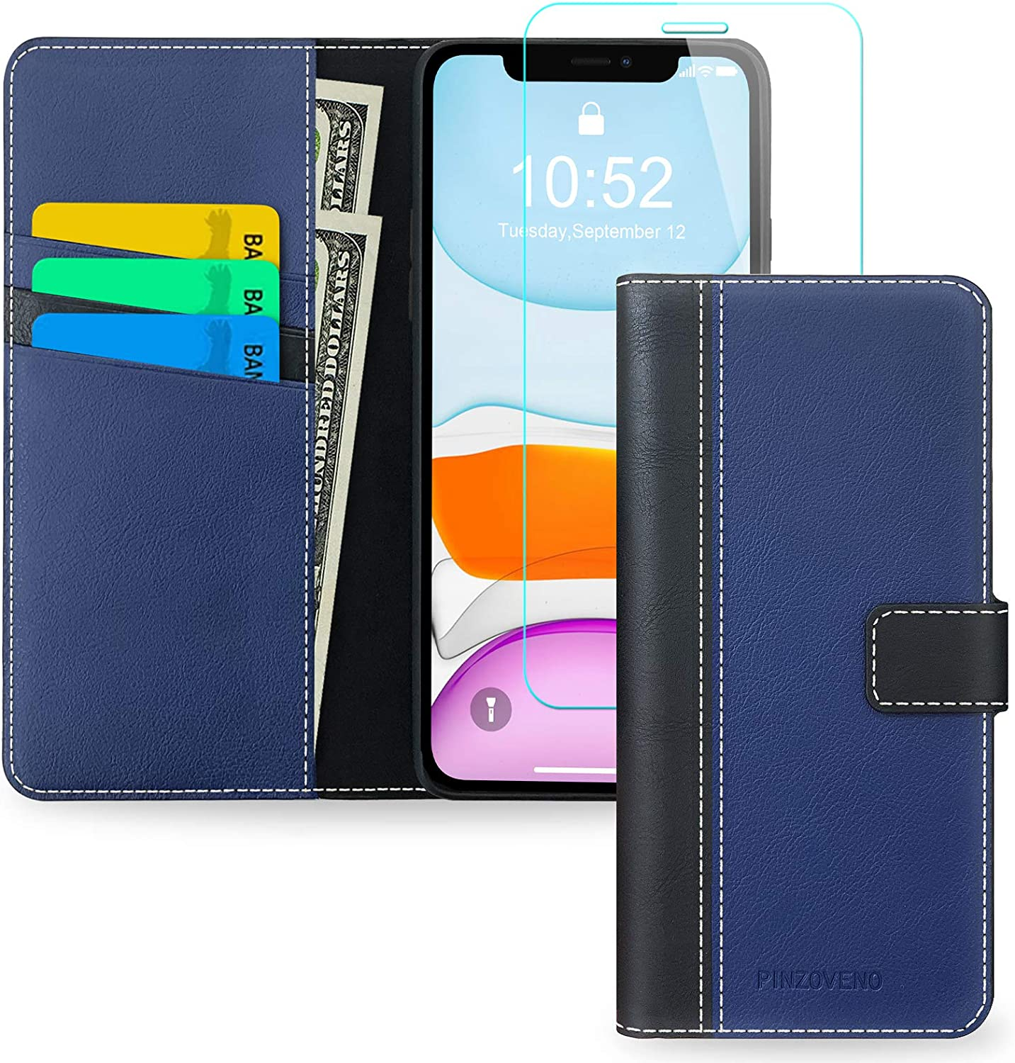Pinzoveno iPhone 11 Wallet Case, Flip Phone Cover with Card Holder and Screen Protector Kickstand PU Leather Folio Funda Cases for iPhone 11 - Black&Blue