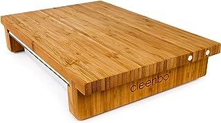 cleenbo - Tabla de Corte Classic Bamboo GN, Tabla de Cocina Profesional de bambú engrasado con Bandeja de Goteo de Acero Inoxidable y Porta Cuchillos, Dimensiones: 43 x 29 x 7,5 cm