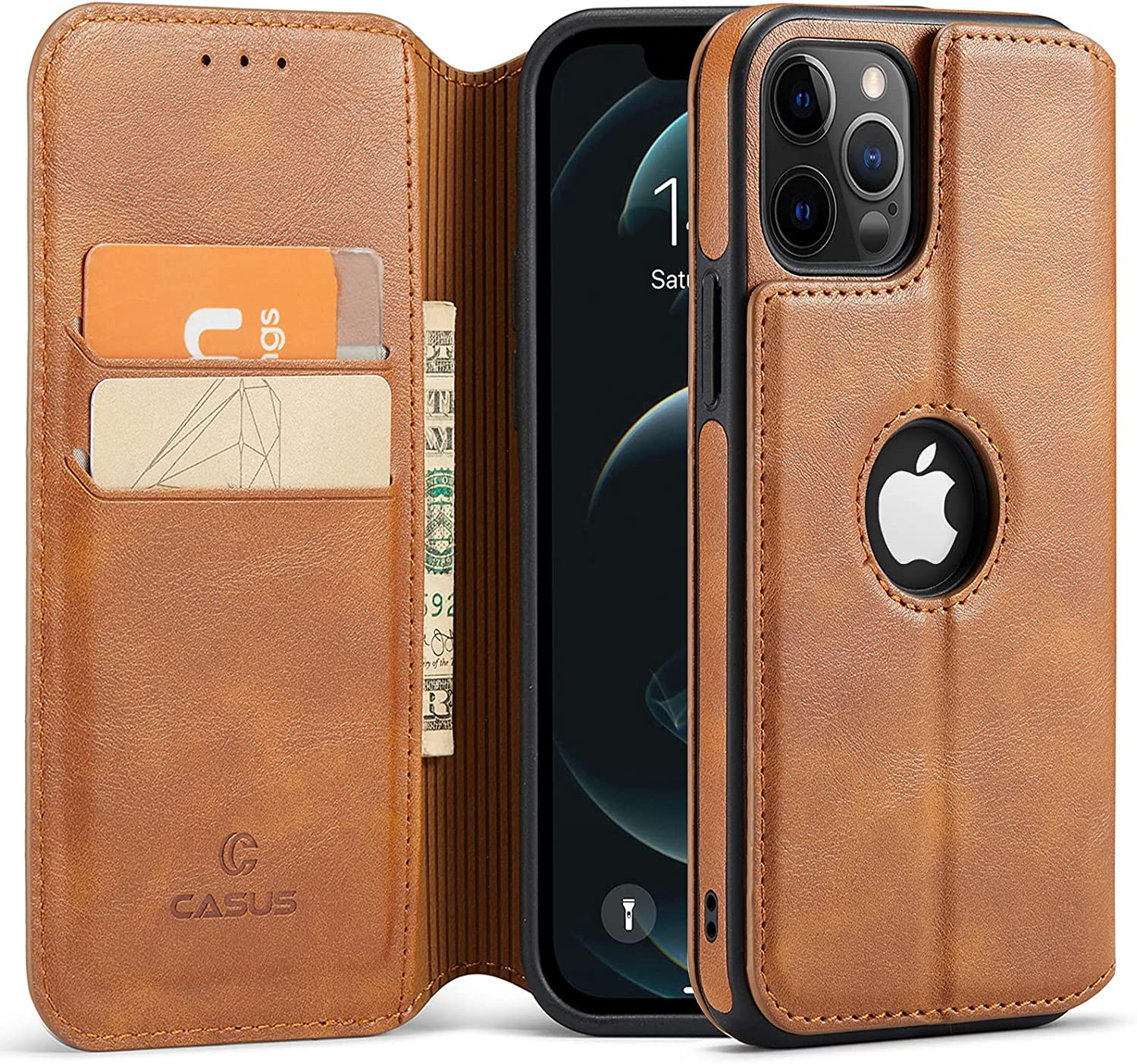 Casus Logo View Compatible with iPhone 12 Pro Max Wallet Case Slim Magnetic Flip Cover Faux Leather with Card Holder Slot Thin Kickstand (2020) 6.7