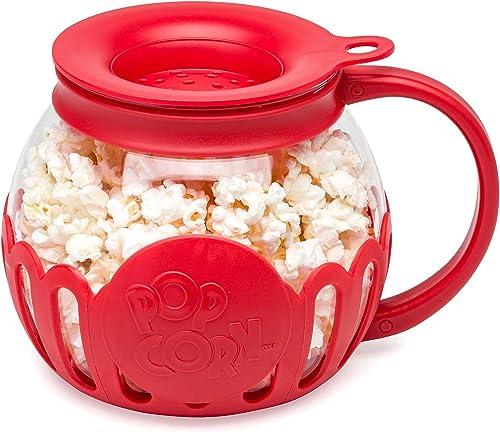 Ecolution Original Microwave Micro-Pop Popcorn Popper, Borosilicate Glass, 3-in-1 Silicone Lid, Dishwasher Safe, BPA ...