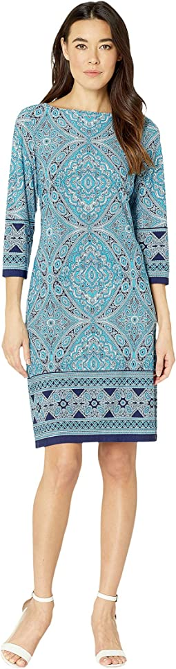 3/4 Sleeve Printed Shift Dress