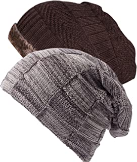 bddfb43f323de Ousipps 2 Pack Mens Winter Thick Warm Cable Knit Beanie Hats with Fleece  Wool Lined