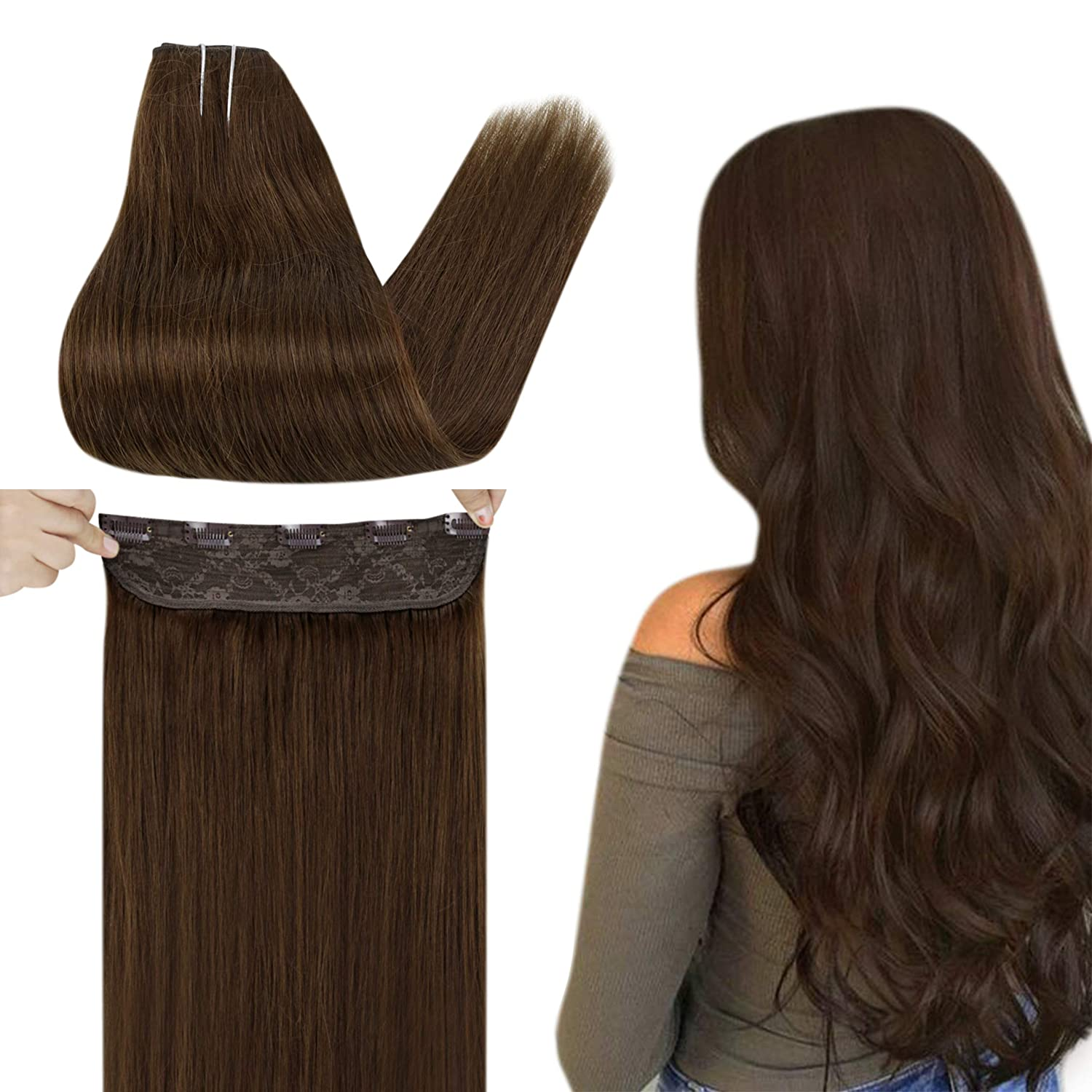 Easyouth Real Hair Extensions Clip Dark Max 64% OFF Human Rapid rise One Brown in