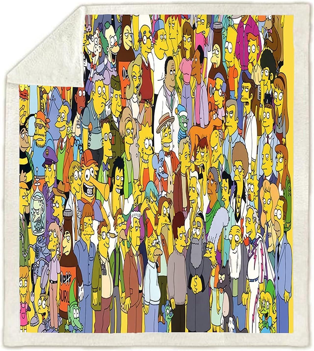LQBABE Mantas Simpson, mantas de los Simpson, mantas de anime, mantas para niños, mantas de viaje, duraderas y compactas (7,135 x 200 cm)