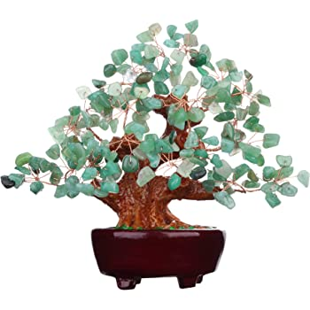 Parma77 7 Inch Feng Shui Aventurine Quartz Gem Stone Money Tree Natural Green Crystal Art Decoration Office Living Room Good Luck