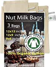 Madras Collections 100% Certified Organic Cotton Nut Milk Bags Set of 3-12