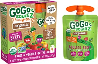 GoGo squeeZ Organic Fruit & VeggieZ on the Go, Apple Mixed Berry Carrot, 3.2 Ounce (4 Pouches), Gluten Free, Vegan Friendly, Unsweetened, Recloseable, BPA Free Pouches (Packaging May Vary)