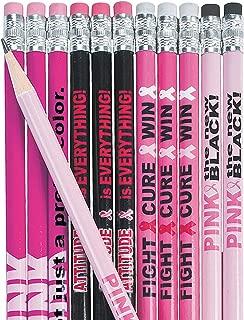 Fun Express - Pink Ribbon Pencil Assortment (144pc) - Stationery - Pencils - Pencils - Printed - 144 Pieces