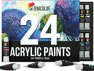 Zenacolor Set 24 Tube 12mL de Peinture Acrylique Non Toxique pour Débutant ou Professionnel - Facile sur Canvas Bois Céram...