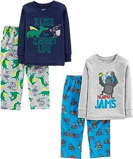 Simple Joys by Carter's Pajama Set (Cotton Top & Fleece Bottom) Bebé-Niños, Pack de 4