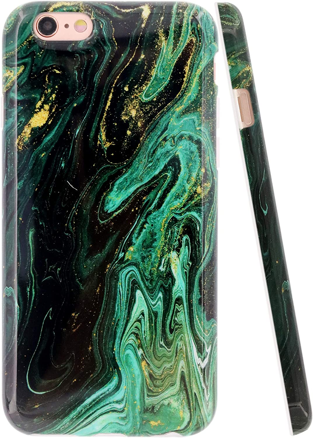 A-Focus Compatible with iPhone 6s Case Marble, iPhone 6 Case, Smooth Green Yellow Marble Texture Pattern IMD Design Shock Proof TPU Silicone Case for iPhone 6 iPhone 6s 4.7 inch Glossy Turquoise