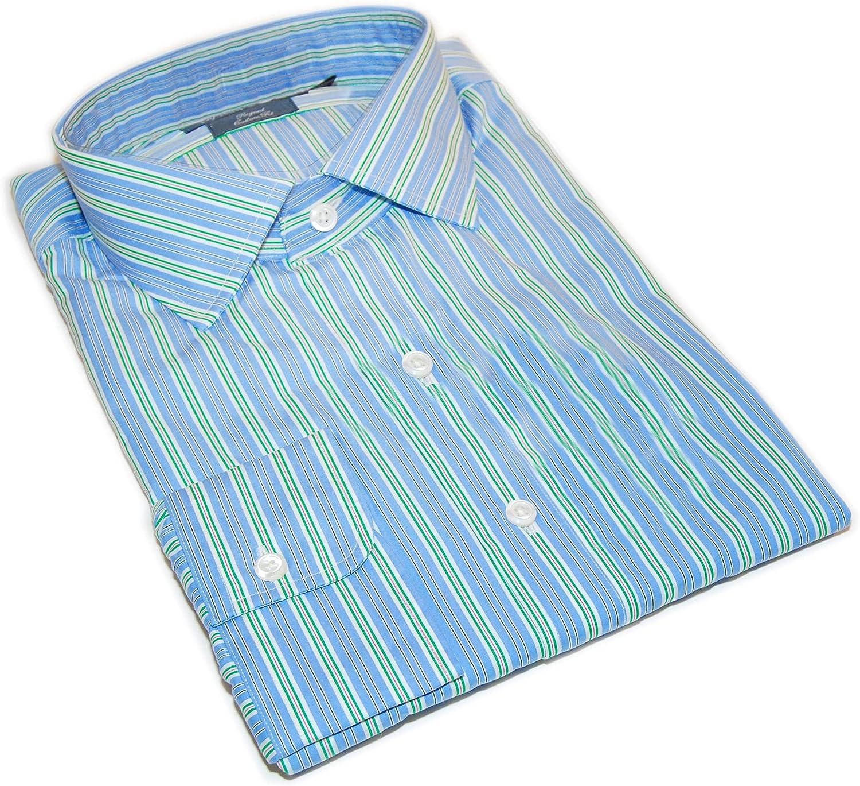 Ralph Lauren Polo Men Regent Custom Fit Cotton Dress Shirt Blue Green Pink 17/34