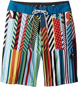 "VISSLA Kids Dripped Four-Way Stretch Boardshorts 17"" (Big Kids)"