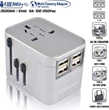 Travel Plug Adapter (Chrome) - 4 USB Ports European Outlet Adapters for 150+ Countries - for Portugal Scotland Italy Japan Indonesia - US to UK Adapter - Type C Type A Type G Type I by Sublimeware