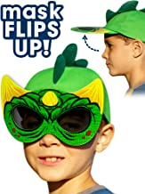 Kids Dinosaur Hat - With Flip Down Sunglasses, Dino Costume Mask, All-In-One Fun Baseball Cap Blocks the Sun (Youth Size), Great for Halloween!
